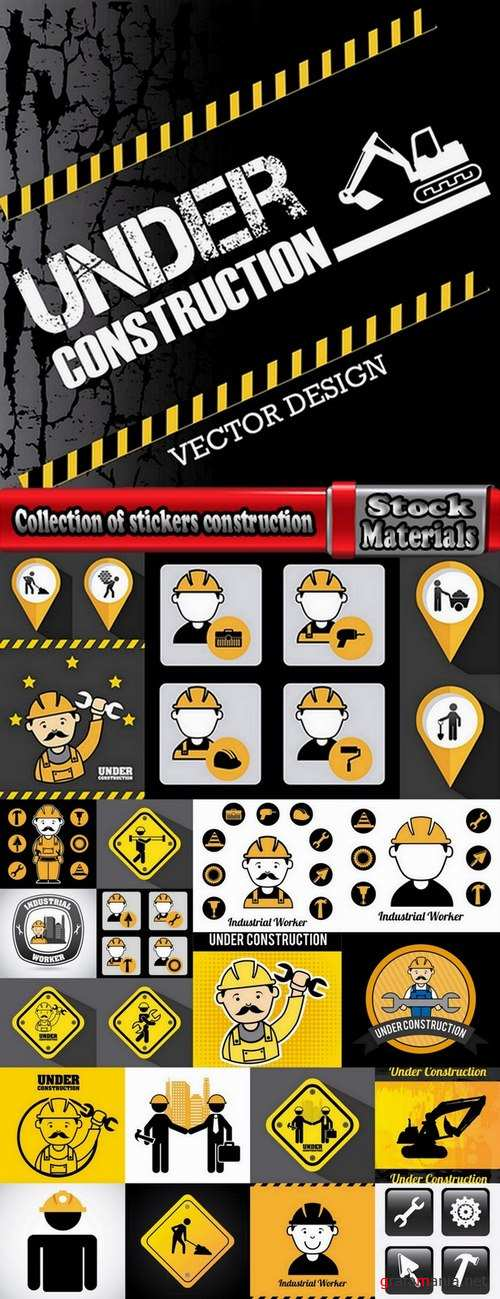 Collection of stickers construction vectors 25 Eps