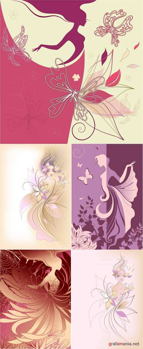 Templates beauty girl flowers