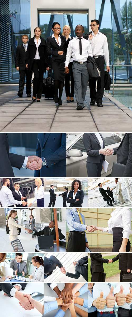 Stock Photo: Businessmen shaking hands confidently outdoors