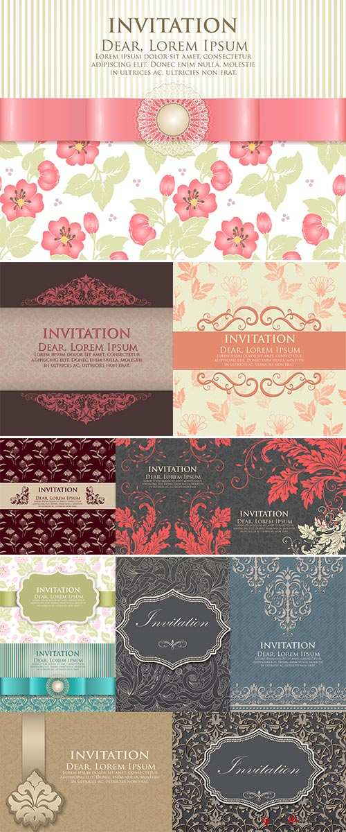 Stock: Invitation or wedding card with flower background and elegant floral elements