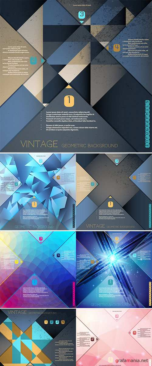 Stock: Abstract polygonal vector background with elements of infographics