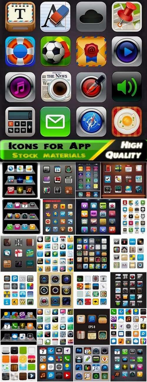 Different icons for App in vector set from stock - 25 Eps
