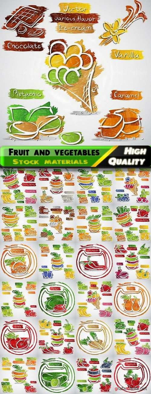 Fruit and vegetables abstract illustrations in vector from stock -25 Eps