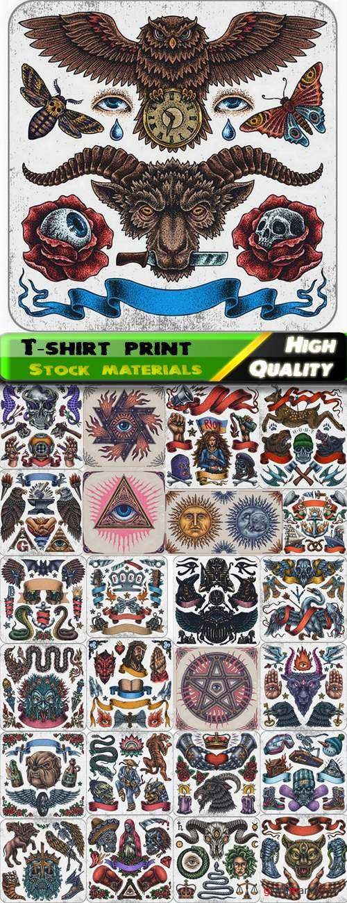 T-shirt print design in vector from stock #4 - 25 Eps