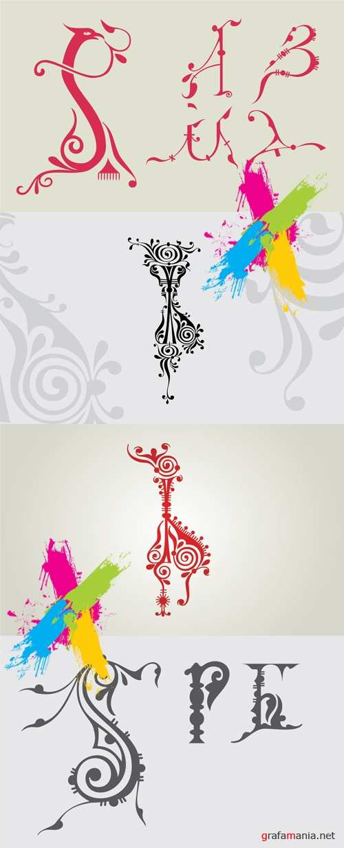 Old Russian Letters Vector by Orname.ru