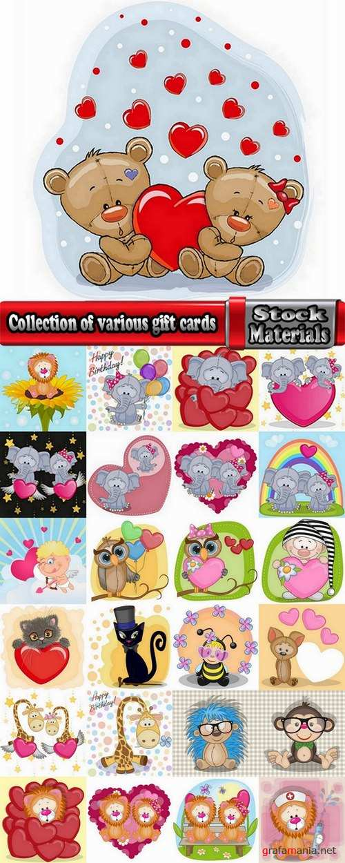 Collection of various gift cards vector images 25 Eps