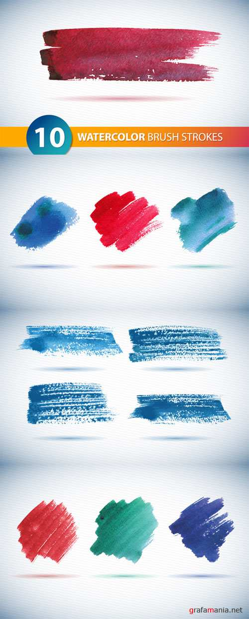 10 Vector Watercolor Brushstrokes