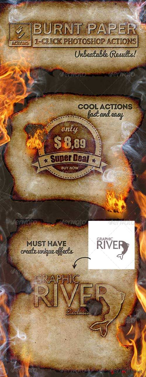 GraphicRiver Burnt Paper with Fire Effects Photoshop Creator