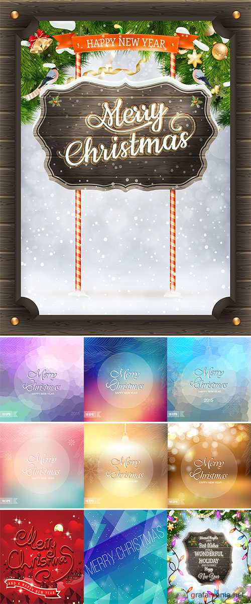 Stock: Happy New Year and Merry Christmas lettering Greeting Card. Vector illustration