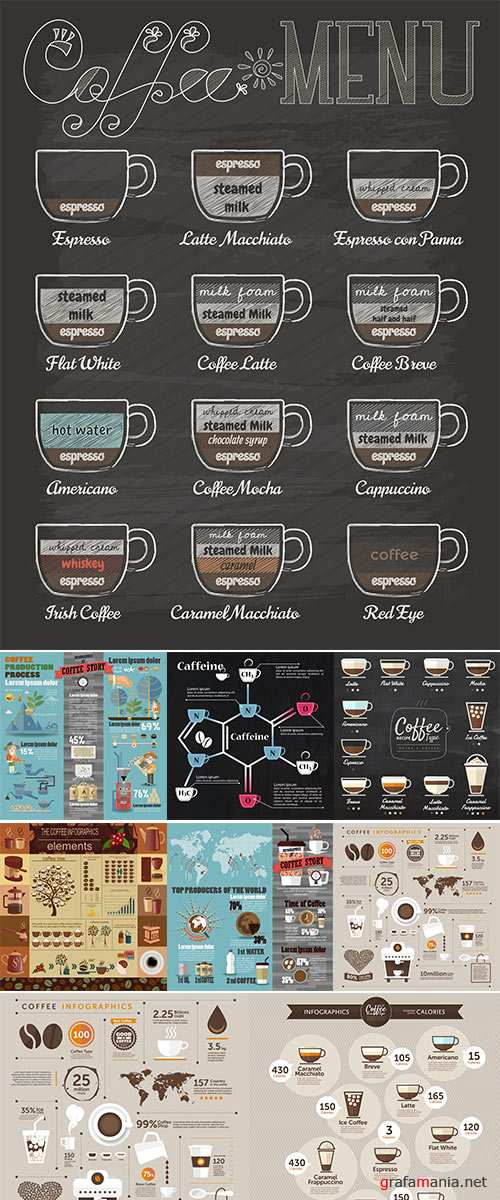 The coffee infographics vector, set elements for creating your own infographic