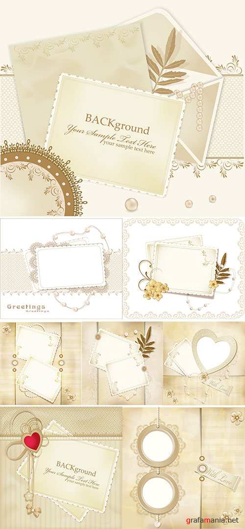 Stock: Congratulation vector retro background with lace, envelopes, leaf, pearls
