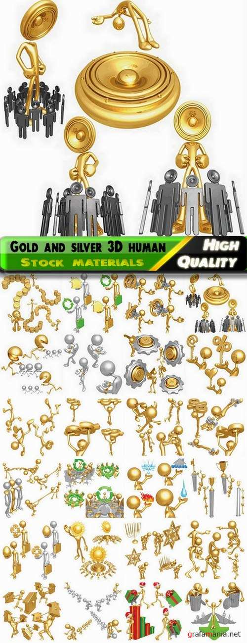 Gold and silver 3D humans in vector from stock #2 - 24 Eps