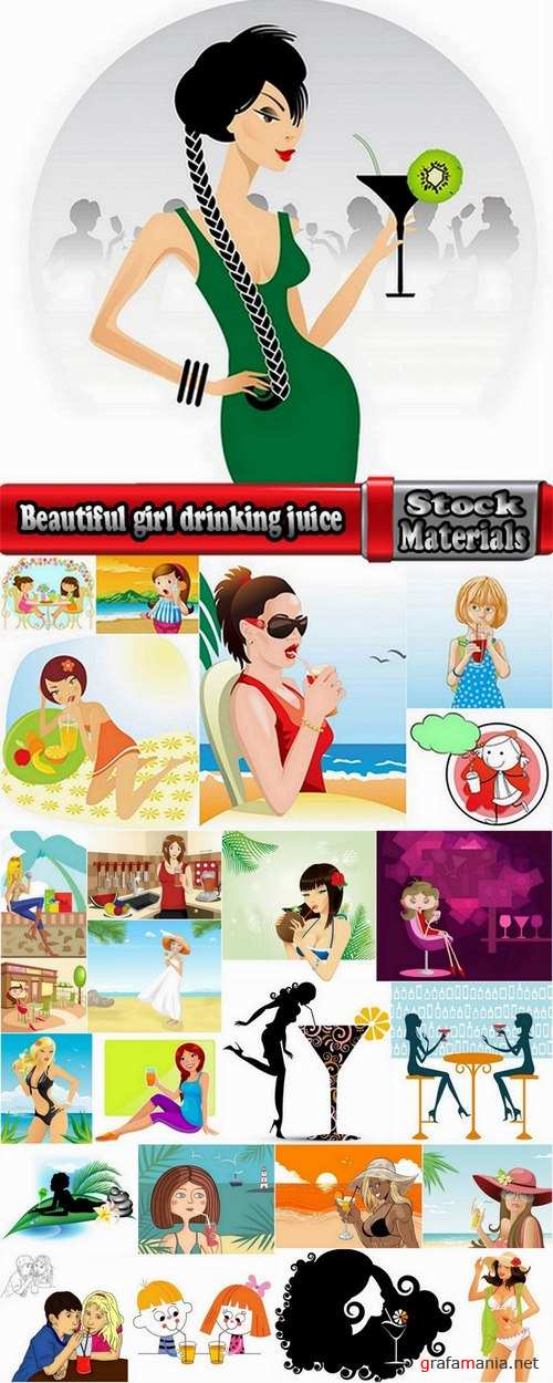 Beautiful girl drinking juice vector images  25 Eps
