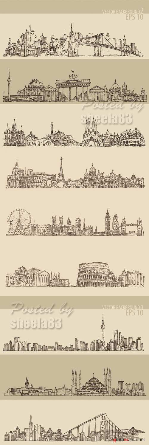 City Skyline Banners Vector