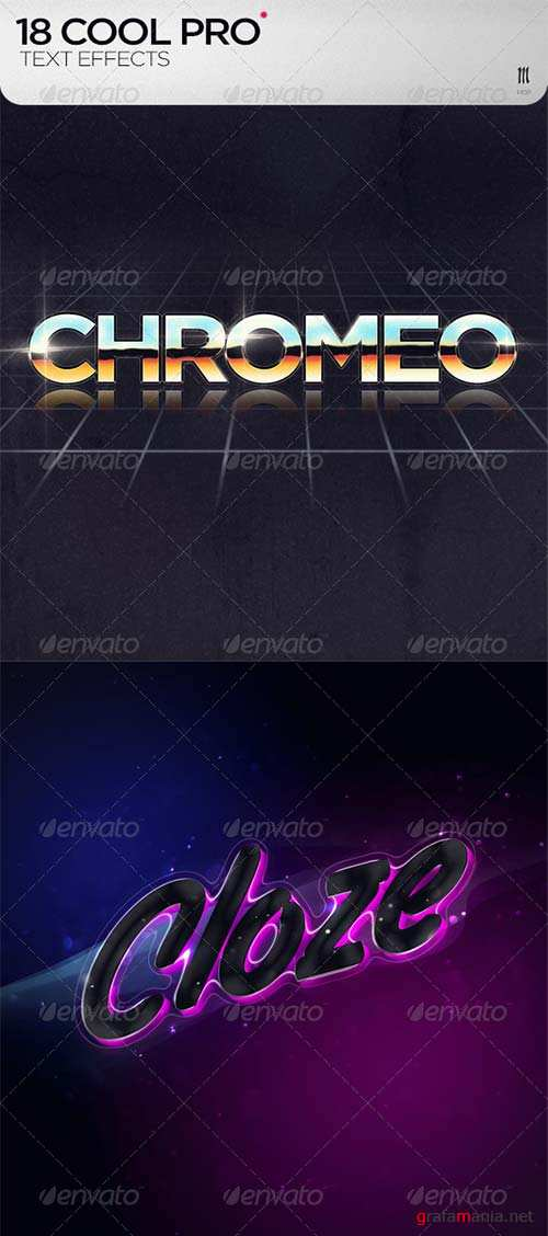GraphicRiver 18 Cool PRO Text Effects + .PSD