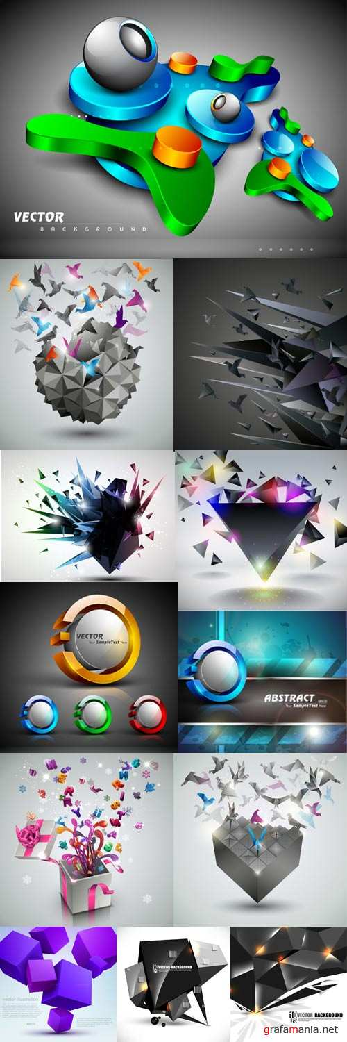 Colorful 3D vector backgrounds