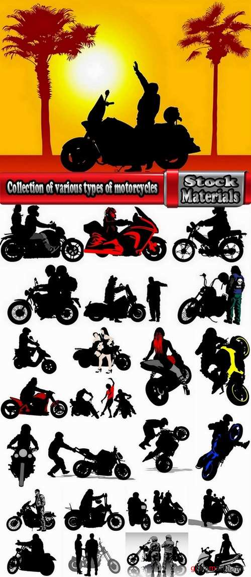Collection of various types of motorcycles 25 Eps
