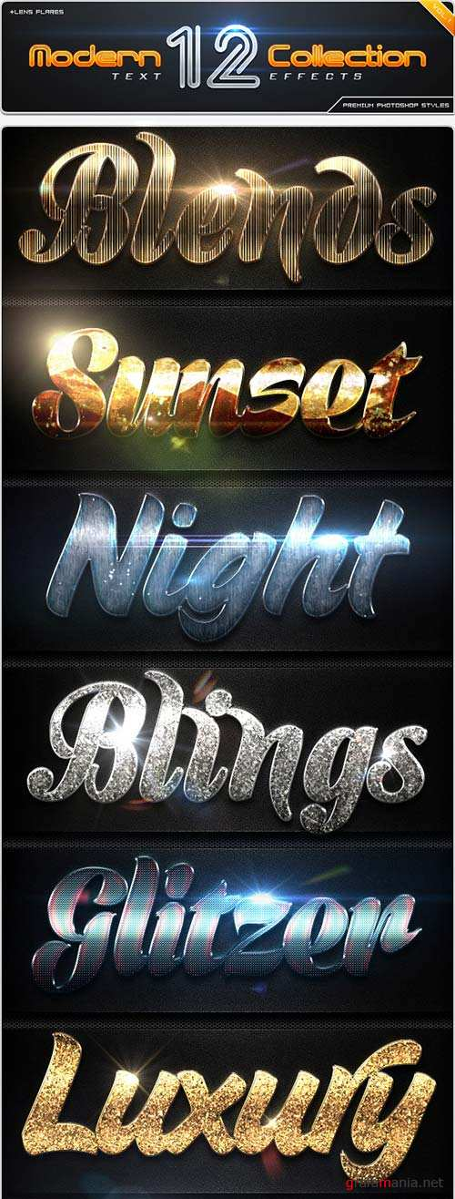 GraphicRiver 12 Modern Collection Text Effect Styles Vol.1