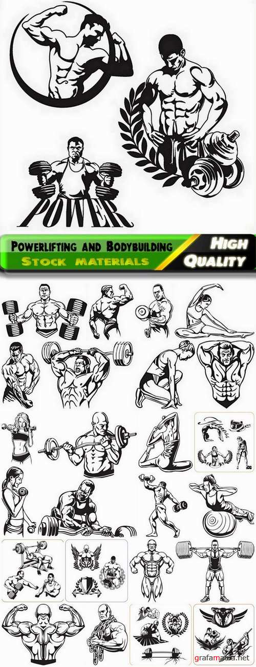 Powerlifting and Bodybuilding in vector from stock - 25 Eps