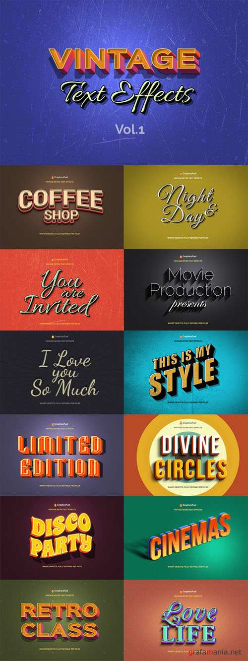 Retro Text Effects PSD - Volume 1