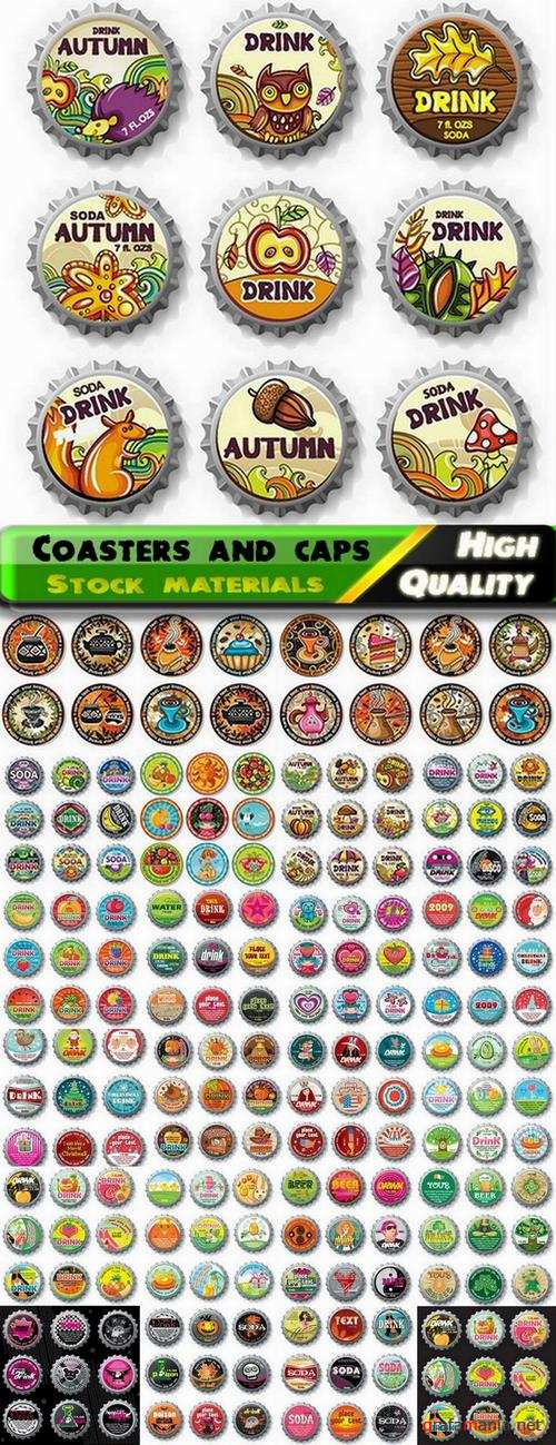 Coasters template design and bottle caps - 25 Eps