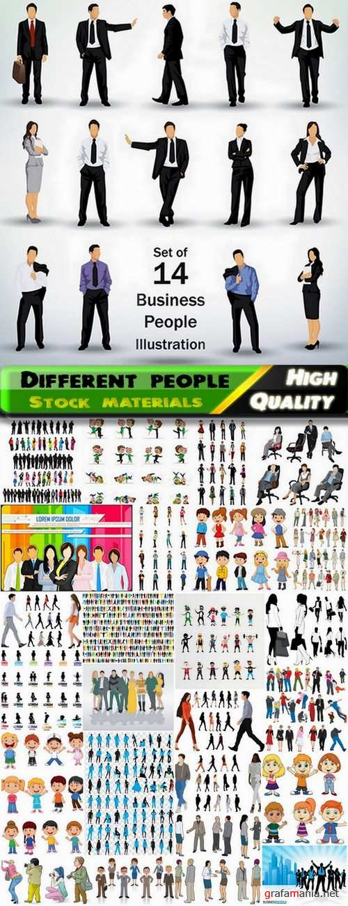 Different people and silhouette in vector from stock - 25 Eps