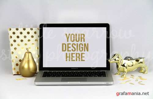 CreativeMarket - Styled Gold MacBook Mock Up 88951