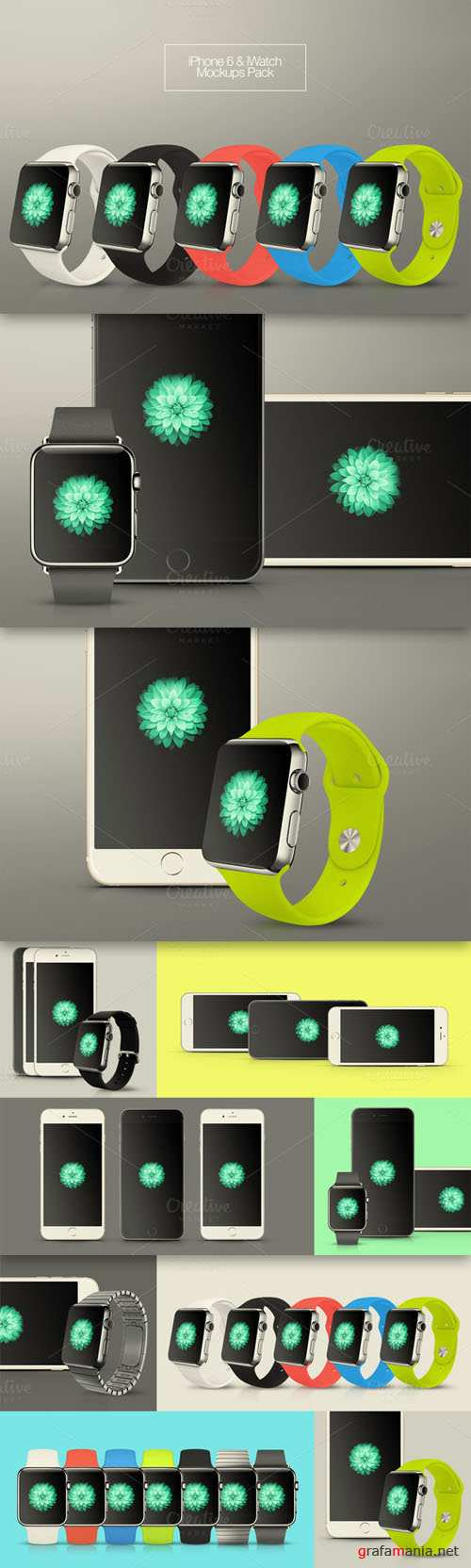 CreativeMarket - iPhone 6 & iWatch Mockups Pack 88451