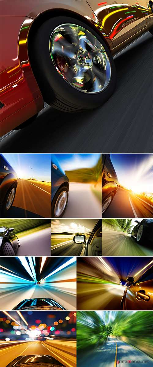 Stock Images Car on the road with motion blur background