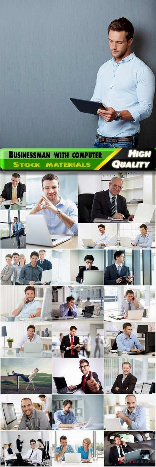 Businessman with computer Stock images - 25 HQ Jpg