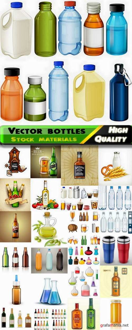 Different vector bottles from stock - 25 Eps