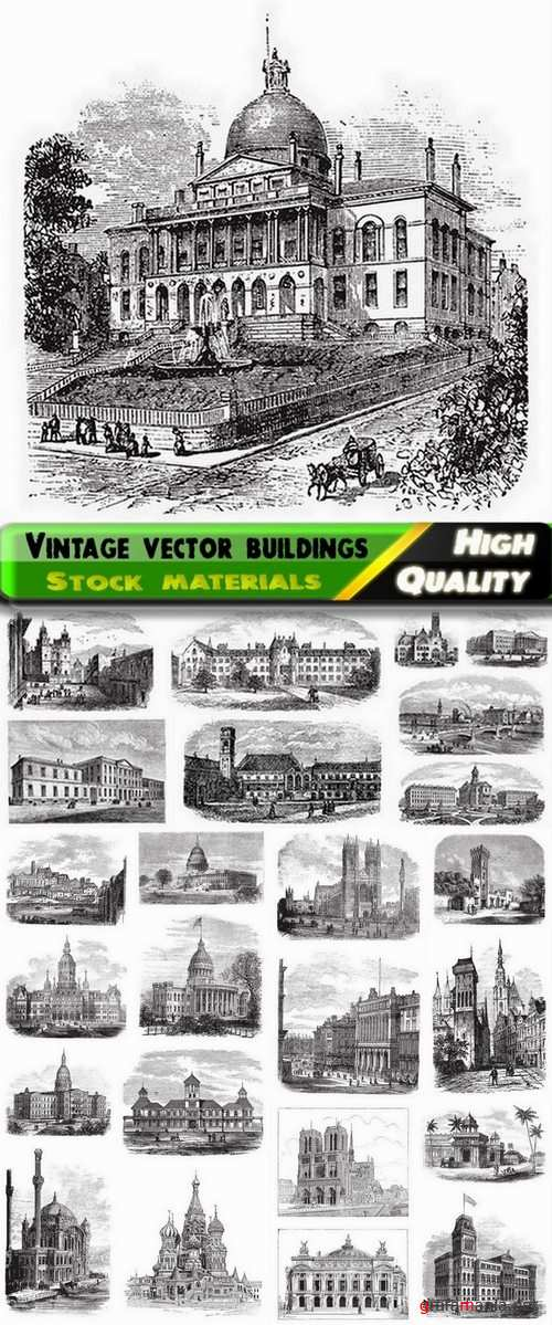 Hand drawing vintage vector buildings from stock - 25 Eps