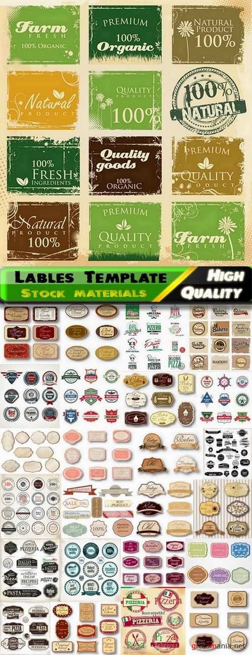 Lables Template design in Vector from Stock set #16 - 25 Eps