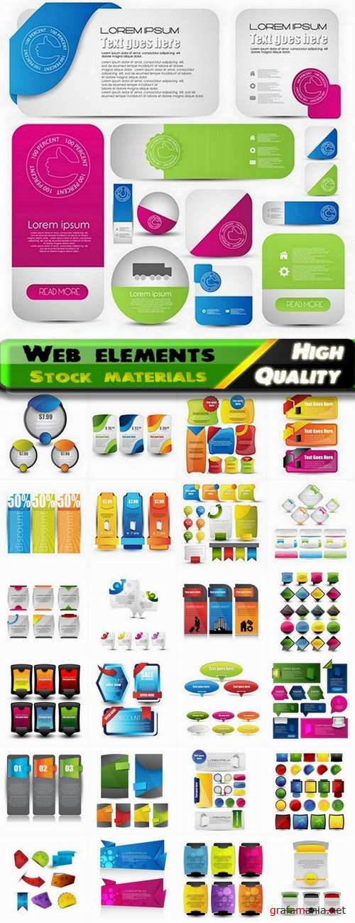 Web elements and vector banners from stock - 25 Eps