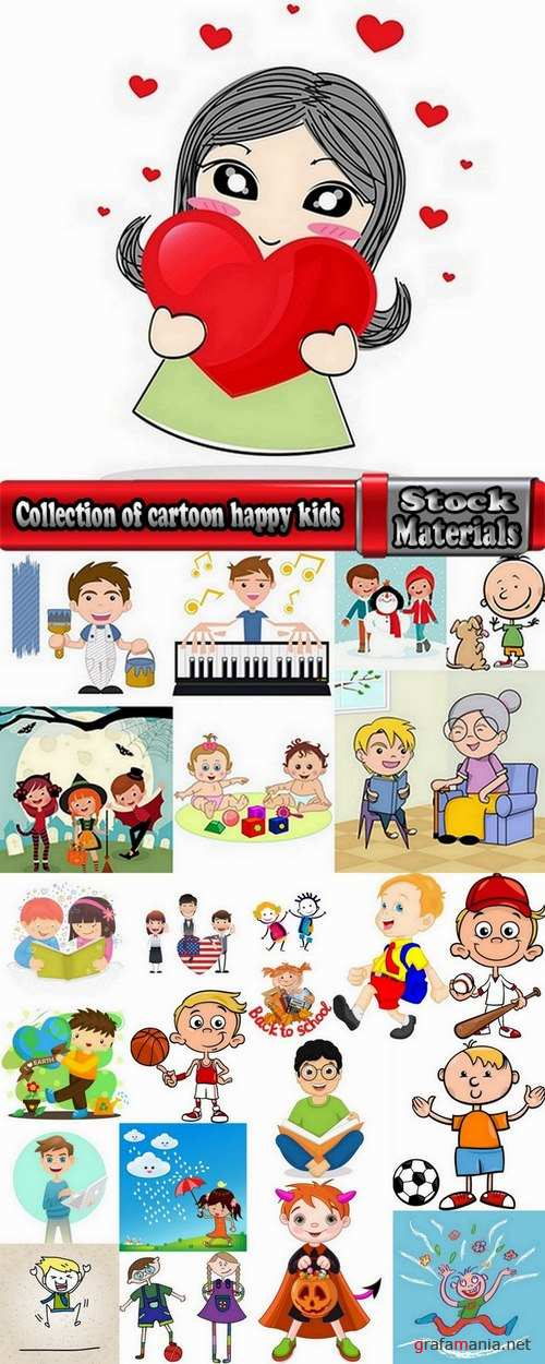 Collection of cartoon happy kids vector images 24 Eps