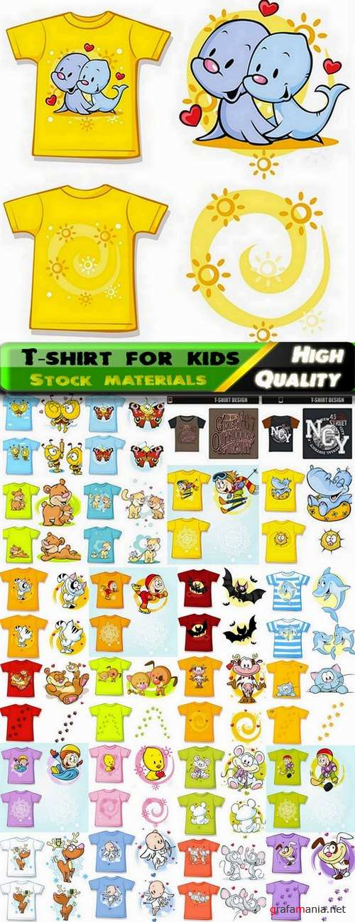 T-shirt print design for kids in vector from stock - 25 Eps
