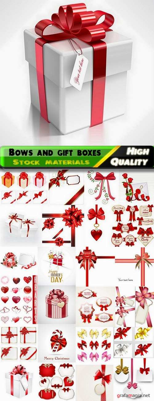 Bows and gift boxes with ribbons and gift labels - 25 Eps