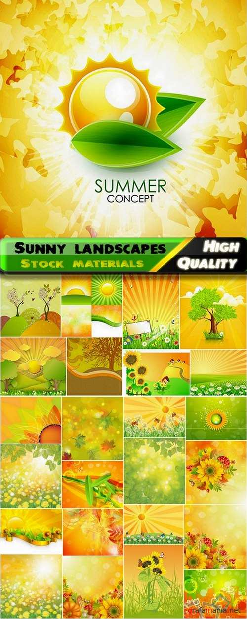 Beautiful vector sunny landscapes and nature - 25 Eps