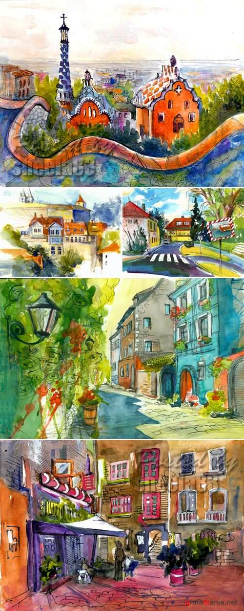 Stock Photo - Watercolor Streets
