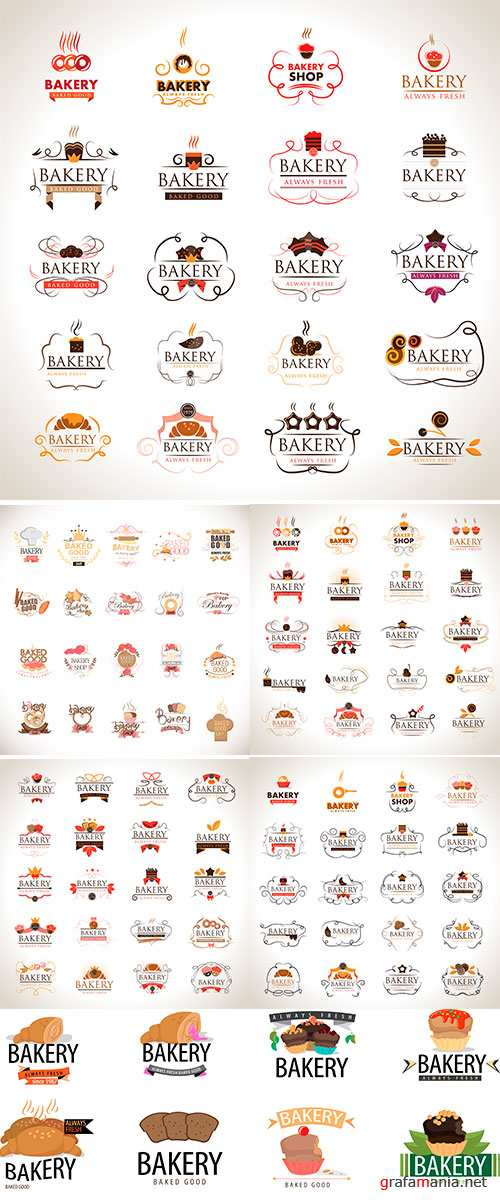 Stock Vector Bakery Icons Set, Isolated On Gray Background, Vector Illustration