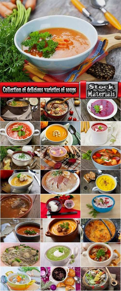 Collection of delicious varieties of soups 25 UHQ Jpeg