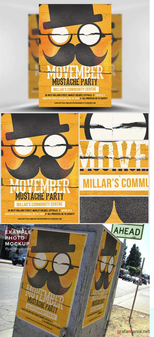 Movember Mustache Party Flyer Template