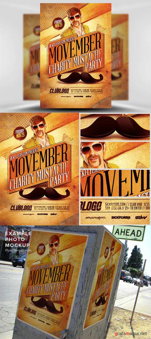 Movember Charity Party Flyer Template