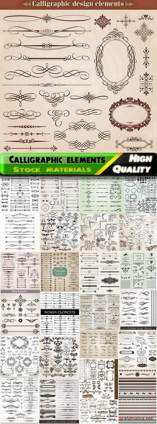 Calligraphic design elements for page decorations #2 - 25 Eps