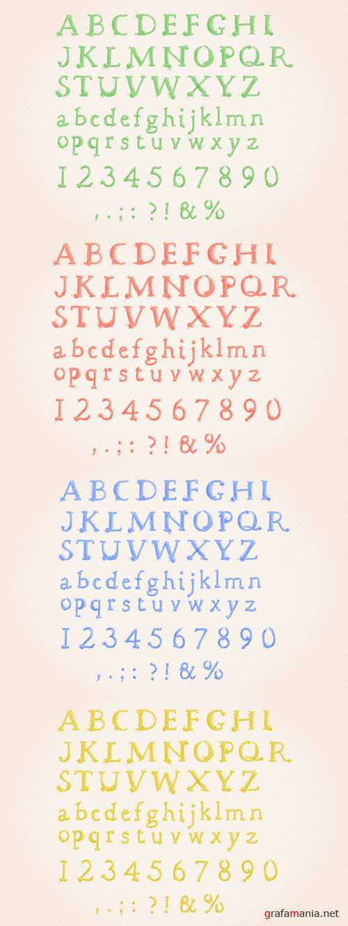 Watercolor Vector Alphabet Set