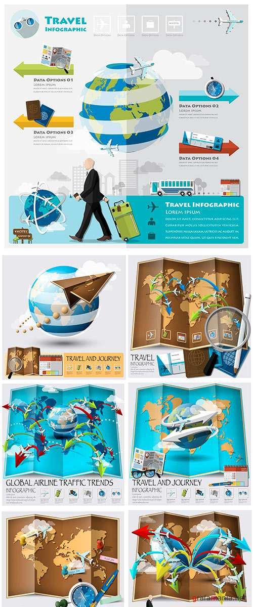 Stock Vector Travel And Journey Business Infographic Design Template