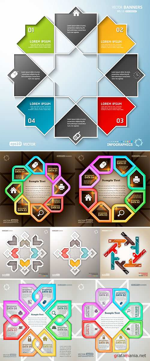 Stock Vector Round infographic arrow shaped elements