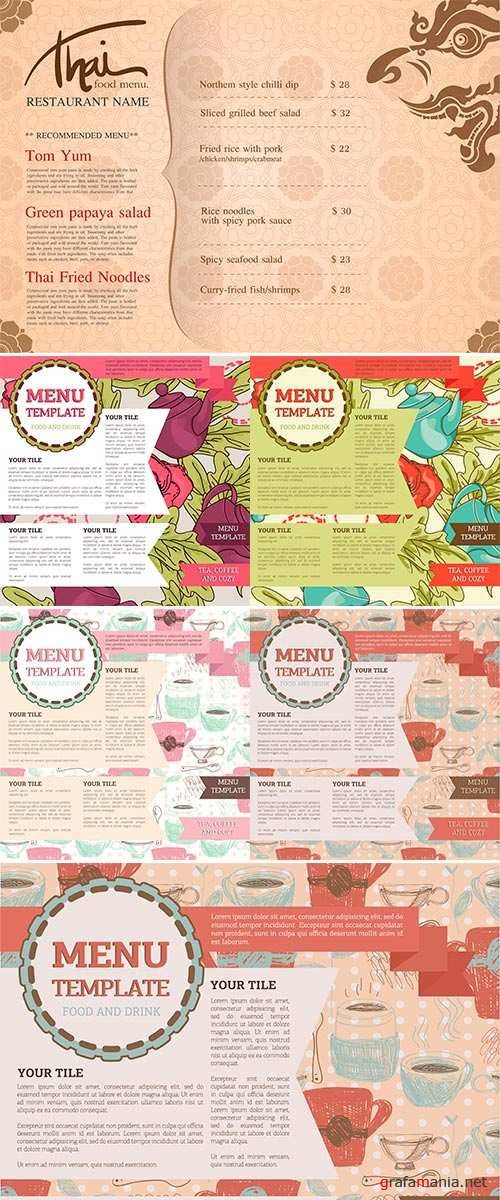 Stock Vector Menu design template, can be used as web page, vector illustration
