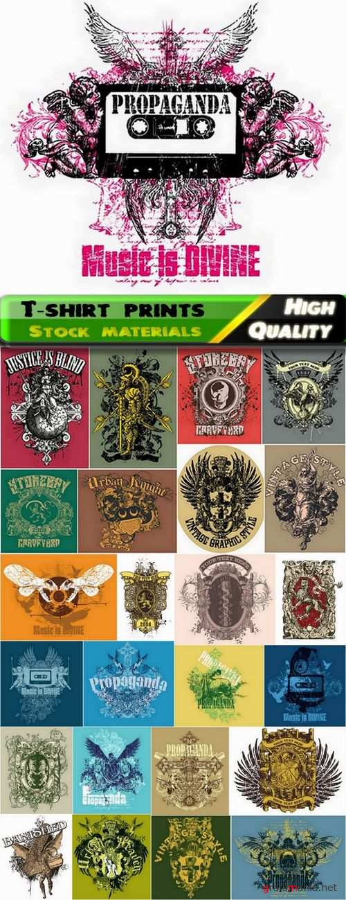 T-shirt prints design in vector from stock #9 - 25 Eps