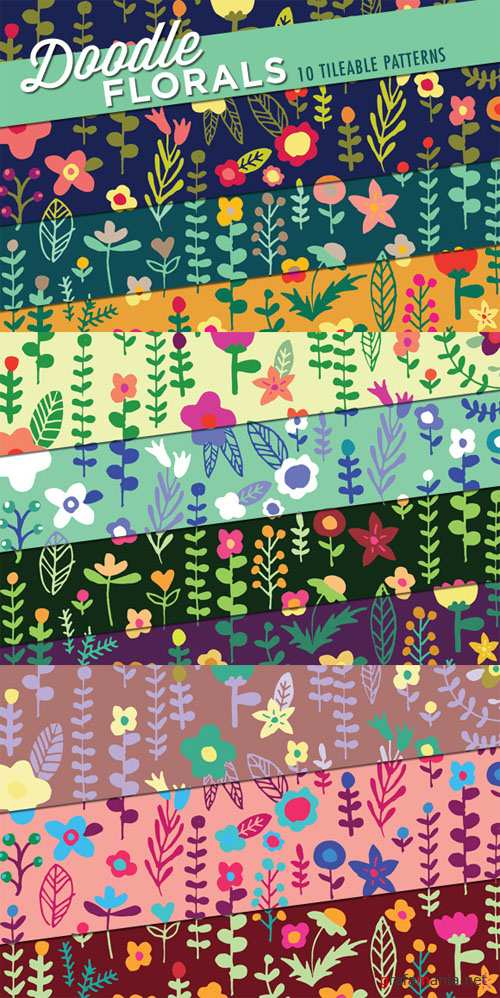 CreativeMarket - Floral Doodles Patterns